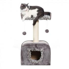 Rascador Gris con Guarida para Gatos